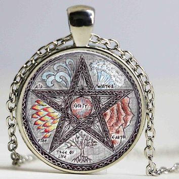 Free shipping Tree of Life Pentagram Wicca Pendant Necklace Wiccan Jewelry Occult glass dome pendant necklace