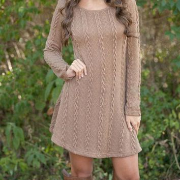 WINTER SPRING WARM SOLID LONG-SLEEVED SWEATER DRESS +FREE GIFT -RANDOM NECKLACD