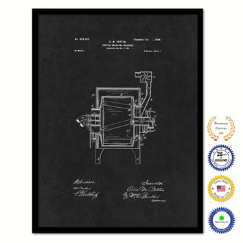 1899 Coffee Roasting Machine Vintage Patent Artwork Black Framed Canvas Home Office Decor Great for Coffee Lover Cafe Tea Shop