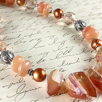 Quartz Crystal Points Necklace, Peach, Statement Necklace, Gemstones, Sterling Silver