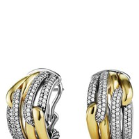 Women's David Yurman 'Labyrinth' Double Loop Earrings with Diamonds in Gold - Diamond