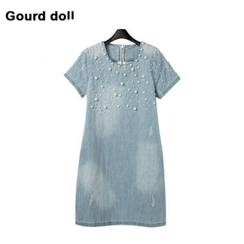 Summer M-5XL Denim Maternity Dresses Clothe For Pregnant Women Clothing O-neck Short Sleeve 3 Colors Slim Pregnancy Dress Wear