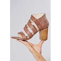 Svenna Faux Leather Heels (Blush)
