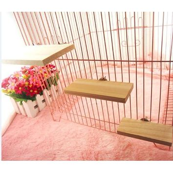 Wood Stand Platform Pet Bird Toys Parrot Rack Hamster Perches Paw Grinding Clean Cage Accessories for Gerbils Mice