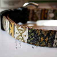 Sand Washed Mustard Brown Native American Dog Collar 3/4 Inch Wide