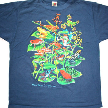 Vintage 90s Morrow Bay Dart Frog Shirt Mens Size XL