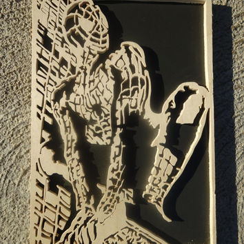 Wooden Spider Man Portrait