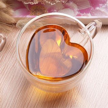 Heart Love Shaped Double Wall Glass Mug Resistant Kungfu Tea Mug