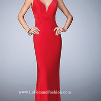 V-Neck Open Back Long Prom Dress by La Femme
