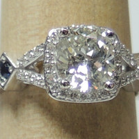 1.41ct Cushion Diamond and Sapphires Engagement ring JEWELFORME BLUE