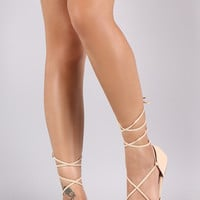 Qupid Peep Toe Lace-Up Flat