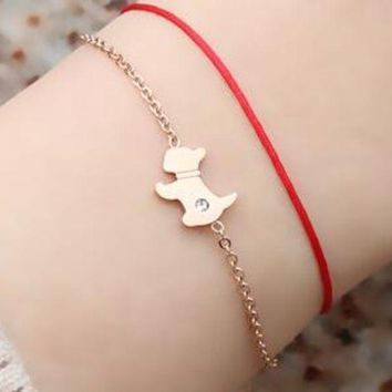 18k Rose Gold Puppy Red Rope Bracelet Female Version Of The Lunar New Year Dog Wild Personality Titanium Steel Hand Rope Gift
