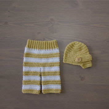 Crochet Yellow Brown and White Striped Pants with Brown Newsboy Cap, Crocheted Baby Hat, Crochet Baby Hat, Crochet Set, Newborn Photo Prop