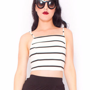 Minimalist Stripe Crop in White