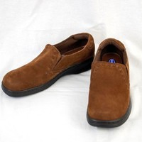 Dr Scholls Sz 8.5 Double Air Pillow Loafer Brown Leather Slip On Comfort EU 39