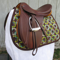 English All-Purpose Saddle Pad:  Green, Taupe, and Brown Square Print with Brown Trim