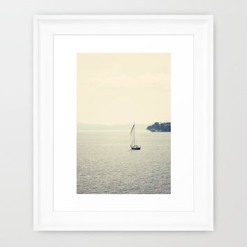 Sailboat Photography - Minimalist Photo - Nautical Photograph - Blue and Tan - Mediterranean Sea - Nautical Home Decor