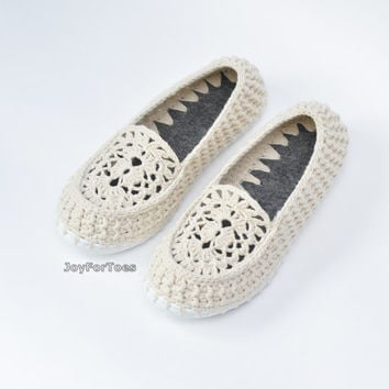 Crochet Moccasins Lace shoes Summer Slip Ons Woman Boho Style Outdoor Slippers Beige Spring celebrations Joyfortoes Made to order
