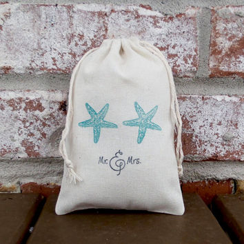Mr. and Mrs. Starfish Hand Stamped Cotton Muslin 4x6 Favor Bag - Perfect for a Summer, Beach or Destination Wedding for Candy or Goodies