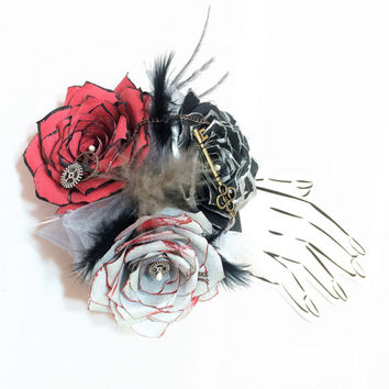 Steampunk corsage or boutonniere in silver, red & black handcrafted paper flowers