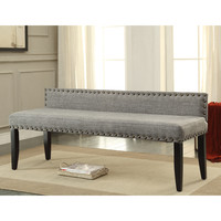 Furniture of America Simone Flax Upholstered 64-inch Backed Accent Bench | Overstock.com Shopping - The Best Deals on Benches