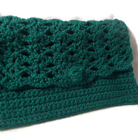 Teal Handmade Crochet Clutch Handbag 109