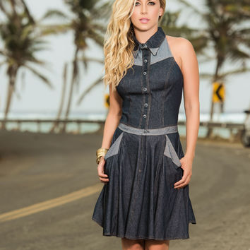 Flirty Summer Denim Dress-Summer Dresses
