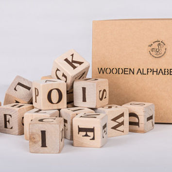 Set of wooden handmade alphabet blocks, ABC blocks, blocks with letters