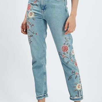 MOTO Floral Embroidered Mom Jeans - Clothing