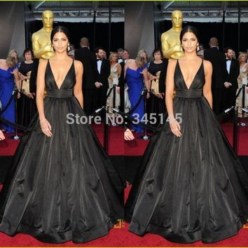 Sexy Deep V-Neck Black Taffeta Oscars Ball Gown Fashion Evening/Celebrity/Red Carpet Dresses