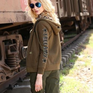 Army Women Shirt Regular Length Hooded Printing Solid Green And Camouflage Spring Autumn Jackets