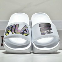 FILA New Fashion women and men letter print slippers shoes