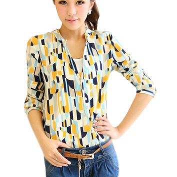 Women Geometric OL Career Button Down Shirt Long Sleeve Stand Collar Blouse Tops NW