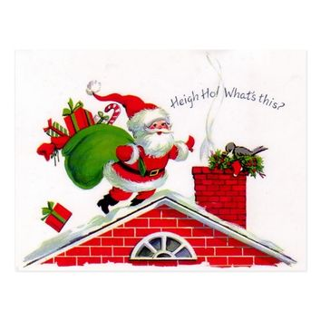 Santa on the roof postcard