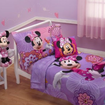 Disney 4 Piece Minnie Mouse Fluttery Friends Toddler Bedding Set, Lavender