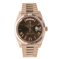 Rolex Day-Date 40mm Rose Gold President Chocolate Roman Dial Watch 228235