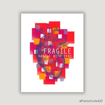 Fragile, Handle With Care, Valentine decor, anatomical heart, heart print, Valentine heart art, medical office decor, bright colors, red