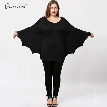 Wipalo Spring Autumn Women Casual Tshirt Plus Size Halloween Batwing Loose Long Sleeve Solid Color T Shirt Tops Tees XL-5XL