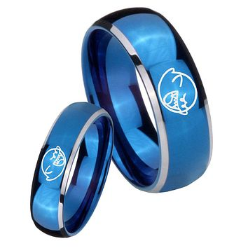 His Her Glossy Blue Dome Mario Boo Ghost Two Tone Tungsten Wedding Rings Set