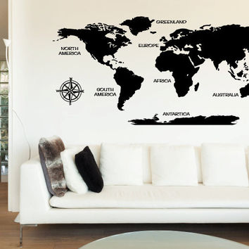 World Map with Countries Vinyl Wall Words Decal Sticker