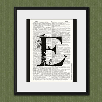LETTER E MONOGRAM Vintage Dictionary Page Art Print Monogram Wall Decor Letter E Home Decor Upcycled Book Art Wedding Gift Housewarming Gift
