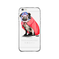 Pug In A Wrestling Mask And Cape iPhone 6 Clear Case