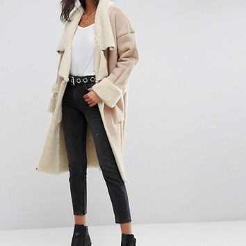 ASOS Waterfall Bonded Borg Coat at asos.com