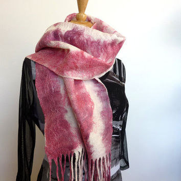 Wool Felted Fashion Scarf Rose Pink and White Stripes Fringed Scarves