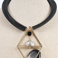 Leatherette Diamond Cut Out Necklace