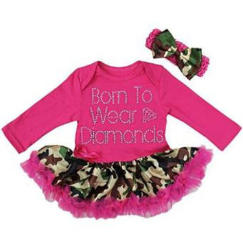 Baby Camo Camouflage Rhinestone Princess Dress Up Bodysuit Tutu Costume Headband Set