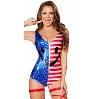 Red/Blue Smiley Face USA Flag Bodysuit