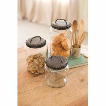 Set Of 3 Glass Canisters With Antique Brass Finish Lids