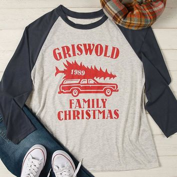 "Woman's ""Griswold 1989 Family Christmas"" Baseball T-Shirt"