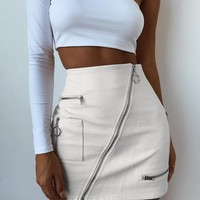 Ivory City Slicker Mini Skirt